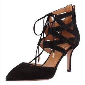 🍍Aquazzura Belgravia Black Suede Lace up Heels